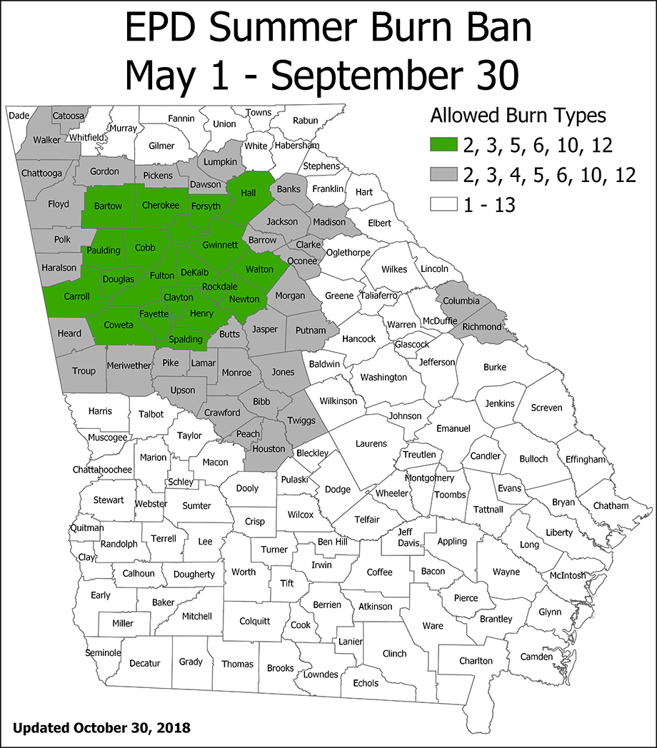 A Georgia map showing which counties are allowed which burn types during the summer. Counties with restrictions are listed below.
