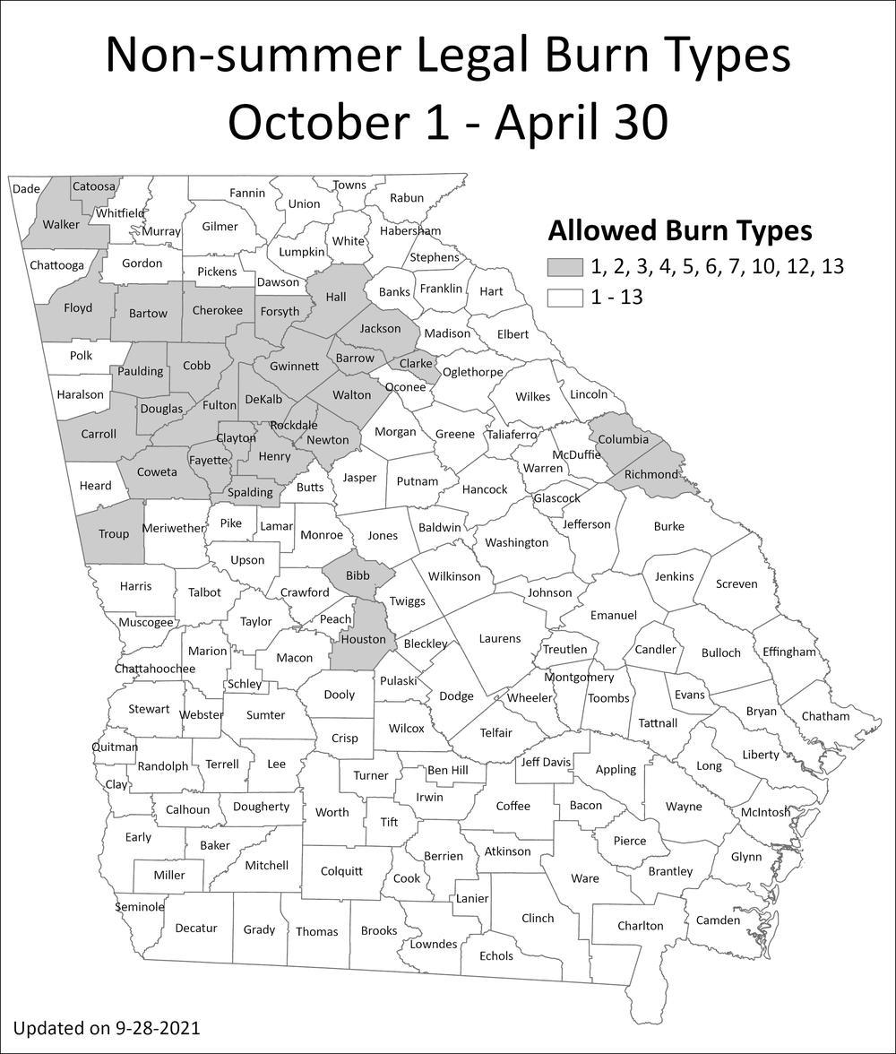 A Map of Georgia highlighting non-summer burn types