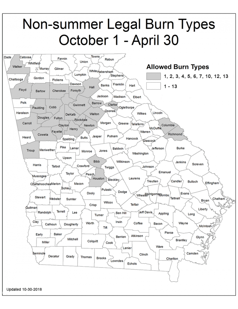 A map of Georgia highlighting non-summer burn types.