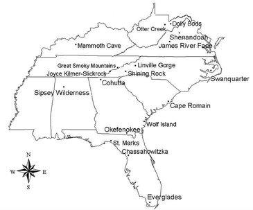 Map of Mandatory Class I Federal Areas in the Southeastern States