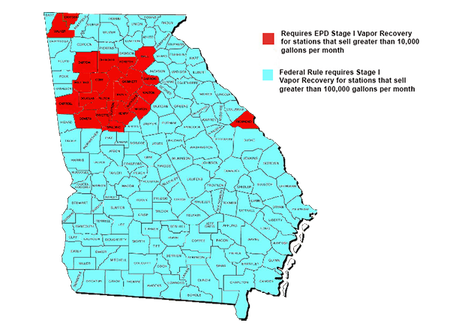 County Map of Stage I Vapor Recovery requirements